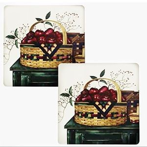 Basket of Apples Hot Pad Trivet Set of 2